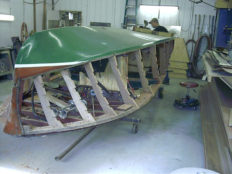 Front starboard view of new side frames installed.