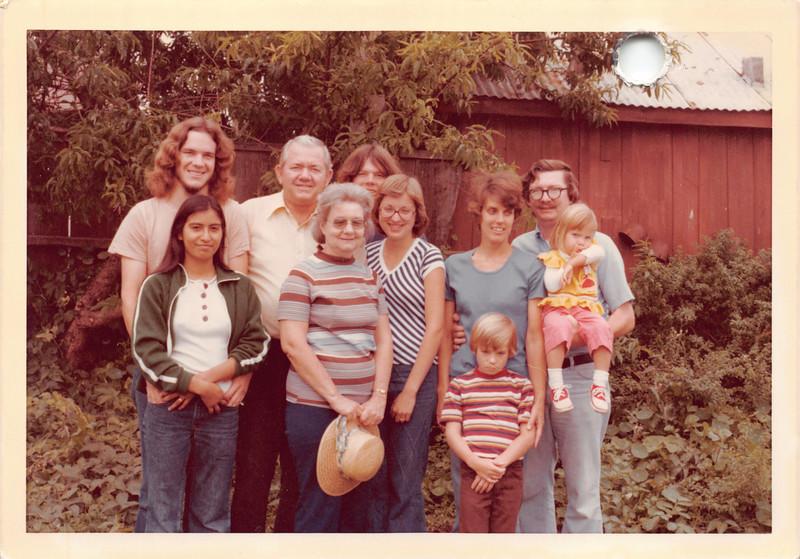 35th anniversary, Aug 21, 1976. David, Ruben, Jeff. Pat, Frankie, Karen A, Karen B, Dan, Phil, Annmarie. Is this Cayucos?