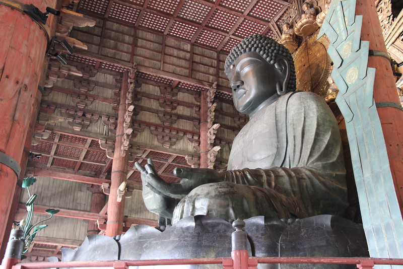 The  largest enclosed bronze Buddha in the world, Nara, Japan