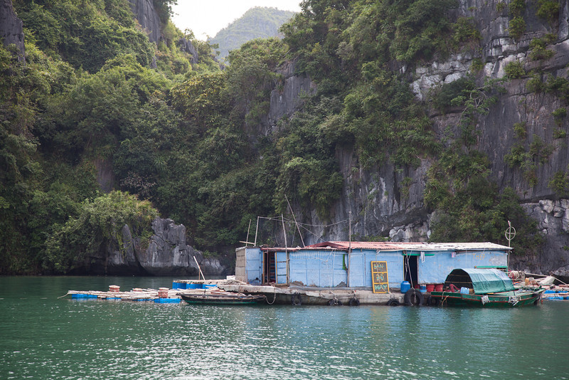 Small fishing village in Halong Bay.