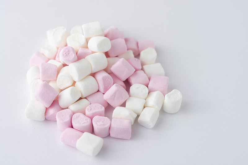 Pink and White Marshmallows Side View
