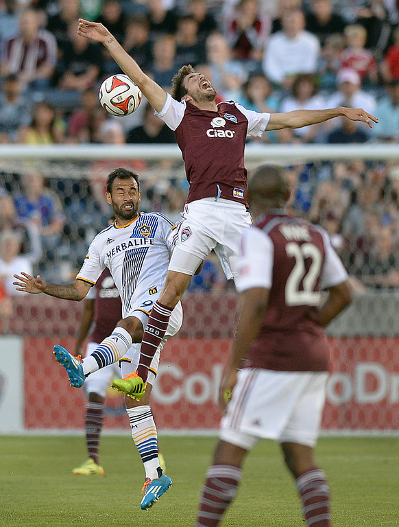 . COMMERCE CITY, CO - MAY 3:  Colorado midfielder Jose Mari (6) battled for the ball with Los Angeles midfielder Juninho (19) in the first half. The Colorado Rapids defeated the Los Angeles Galaxy 1-0 Saturday night, May 3, 2014 at Dick\'s Sporting Good Park. (Photo by Karl Gehring/The Denver Post)