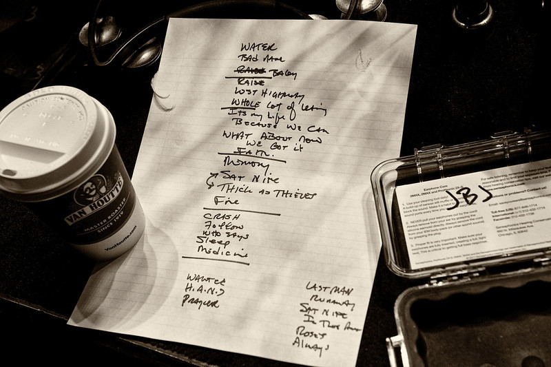 . October 2, 2013 - Jon Bon Jovi\'s handwritten set list is pictured on stage along with his coffee and ear monitors during Bon Jovi\'s sound check at Rogers Arena in Vancouver, BC on October 2, 2013.  (Photo credit: David Bergman / Bon Jovi)