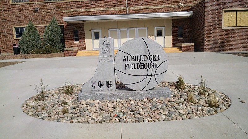 Rock and new plants, along with a new light fixture, adorn the Al Billinger Fieldhouse monument in front of the fieldhouse.
