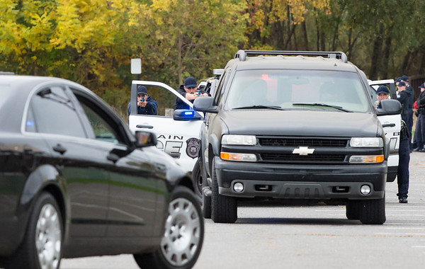 10/29/19 Wesley Bunnell | StaffrrPolice recruits from New Britain as well as other town participate in training on Tuesday afternoon at the parking lot near New Britain Stadium. The training was conducted by the New Britain Police Academy and featured traffic stops from ranging from routine to felony stops.