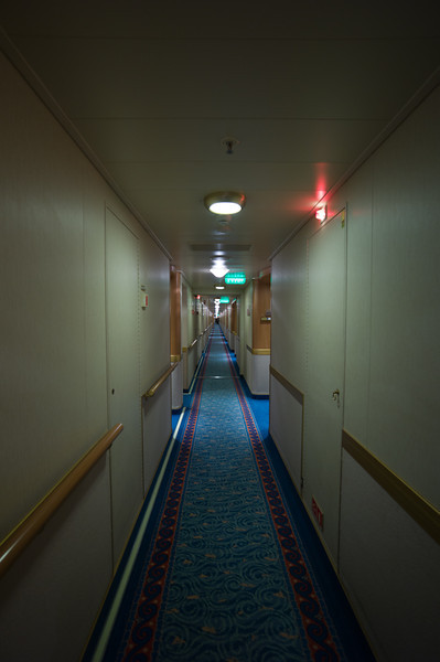 Long hallway, from one end of the ship to the other