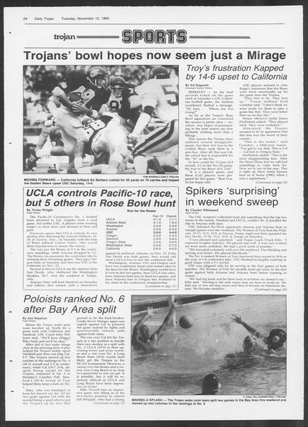 Daily Trojan, Vol. 100, No. 48, November 12, 1985
