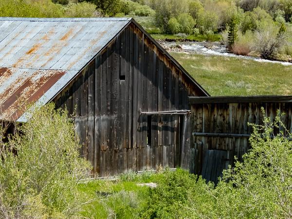 Barn near Mountain Stream in Eastern Sierra