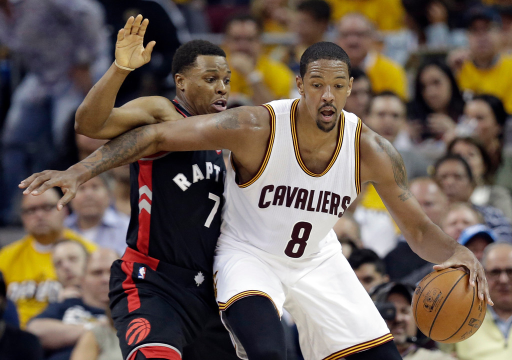 . Cleveland Cavaliers\' Channing Frye (8) drives past Toronto Raptors\' Kyle Lowry (7) in the first half in Game 1 of a second-round NBA basketball playoff series, Monday, May 1, 2017, in Cleveland. The Cavaliers won 116-105. (AP Photo/Tony Dejak)