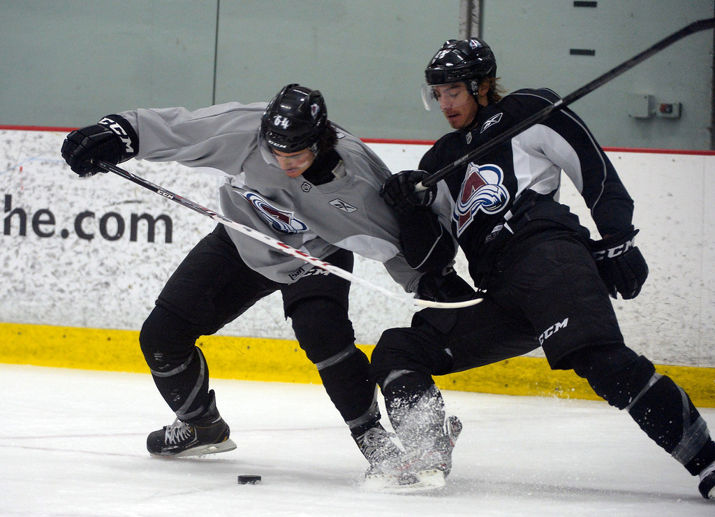 . Colorado Avalanche C Joseph Blandisi (64) battles for the puck with D Duncan Siemens (25) during rookie camp practice September 10, 2013 at Family Sports. (Photo By John Leyba/The Denver Post)