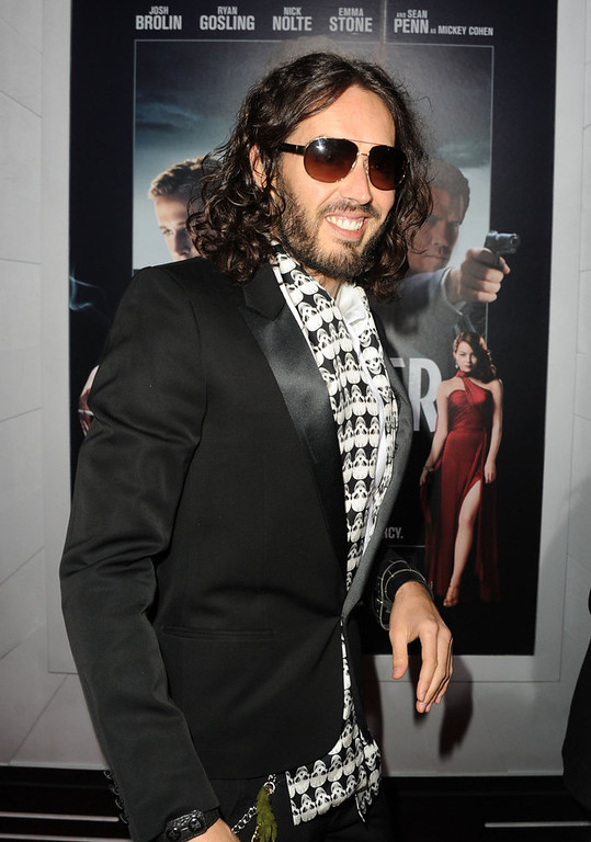 ". Actor Russell Brand arrives at Warner Bros. Pictures\' ""Gangster Squad\"" premiere at Grauman\'s Chinese Theatre on January 7, 2013 in Hollywood, California.  (Photo by Kevin Winter/Getty Images)"