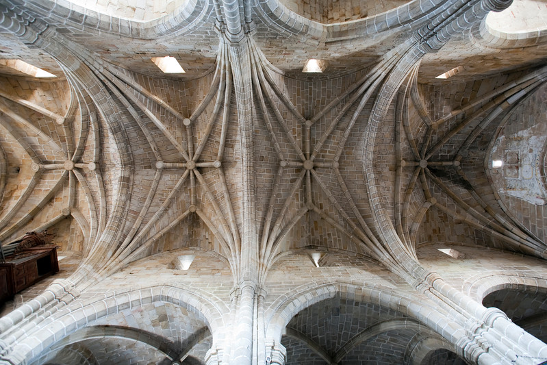 Gothic ceilings of San Pedro church, Garrovillas, Caceres, Spain