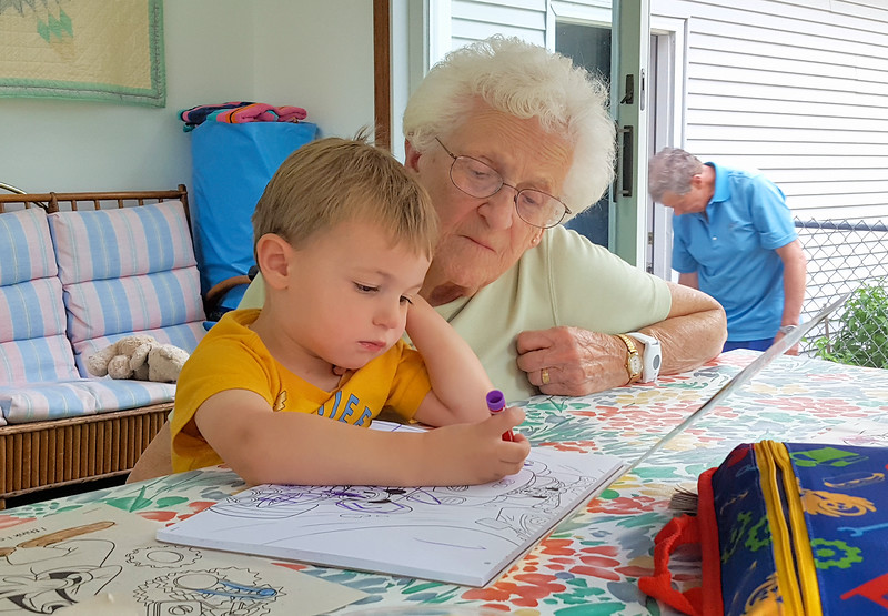 Happy to spend time coloring with his Memere.  Such concentration!
