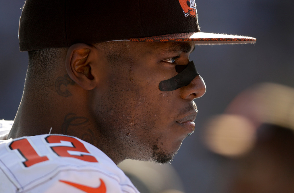 . Cleveland Browns wide receiver Josh Gordon watches during the first half of an NFL football game against the Los Angeles Chargers Sunday, Dec. 3, 2017, in Carson, Calif. (AP Photo/Jae C. Hong)