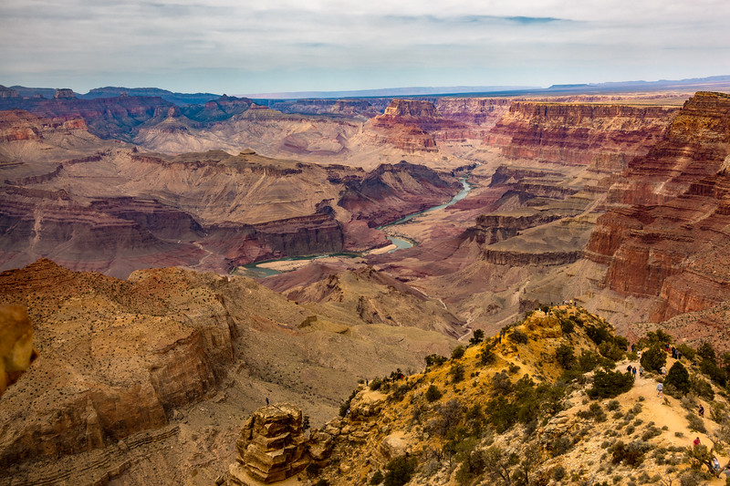 View from Southern Rim of Grand Canyon and Colorado River in Grand Canyon National Park, Arizona, USA
