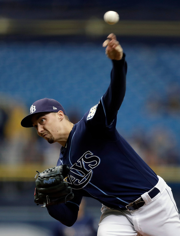 . Tampa Bay Rays starting pitcher Blake Snell delivers to the Cleveland Indians during the first inning of a baseball game Wednesday, Sept. 12, 2018, in St. Petersburg, Fla. (AP Photo/Chris O\'Meara)