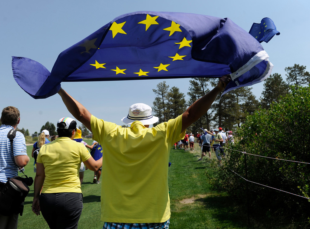 . PARKER, CO - Aug.17: Team Europe\'s fans make their way up the 18th fairway. The 2013 Solheim Cup takes place at the Colorado Golf Club with the USA taking on Europe in the Saturday morning Foursomes Match. (Photo By Kathryn Scott Osler/The Denver Post)