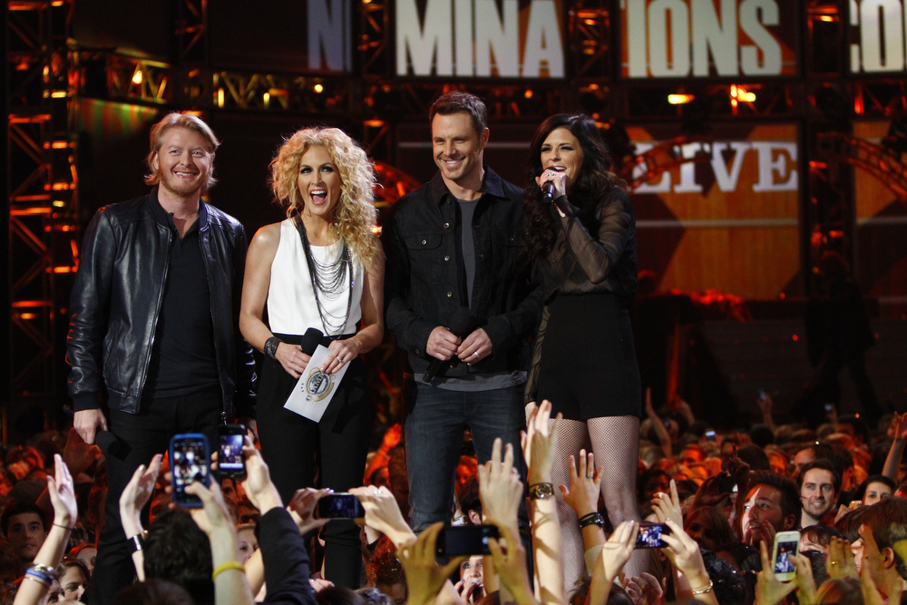 Description of . From left, Philip Sweet, Kimberly Schlapman, Jimi Westbrook and Karen Fairchild, of the musical group Little Big Town, announce the nominees for best new artist at the Grammy Nominations Concert Live! at Bridgestone Arena on Wednesday, Dec. 5, 2012, in Nashville, Tenn. (Photo by Wade Payne/Invision/AP)