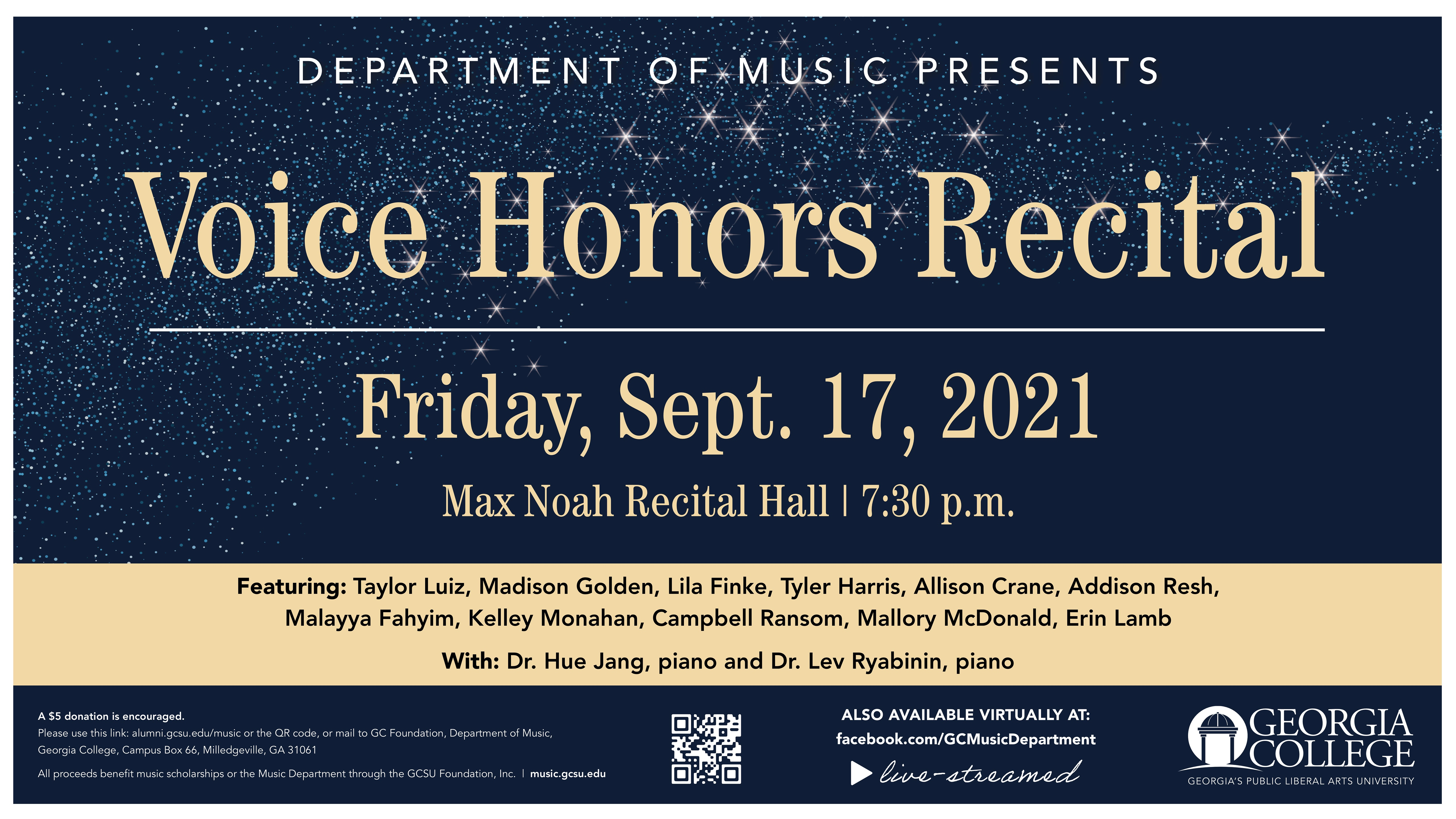 Please join us Friday, Sept. 17, 7:30 pm for our Voice Honors Recital.