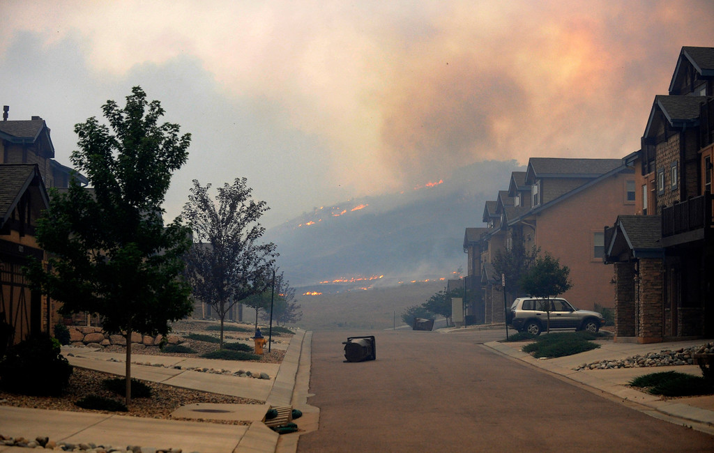 . The Waldo Canyon fire jumped into Colorado Springs Tuesday evening. Residents of the Lower Mountain Shadows subdivision evacuated the neighborhood in northwest Colorado Springs on Tuesday evening, June 26, 2012. Karl Gehring/The Denver Post