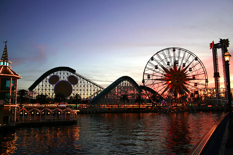 Scene of Paradise Pier in California Adventure just before closing time - Cly's favorite photo from the trip