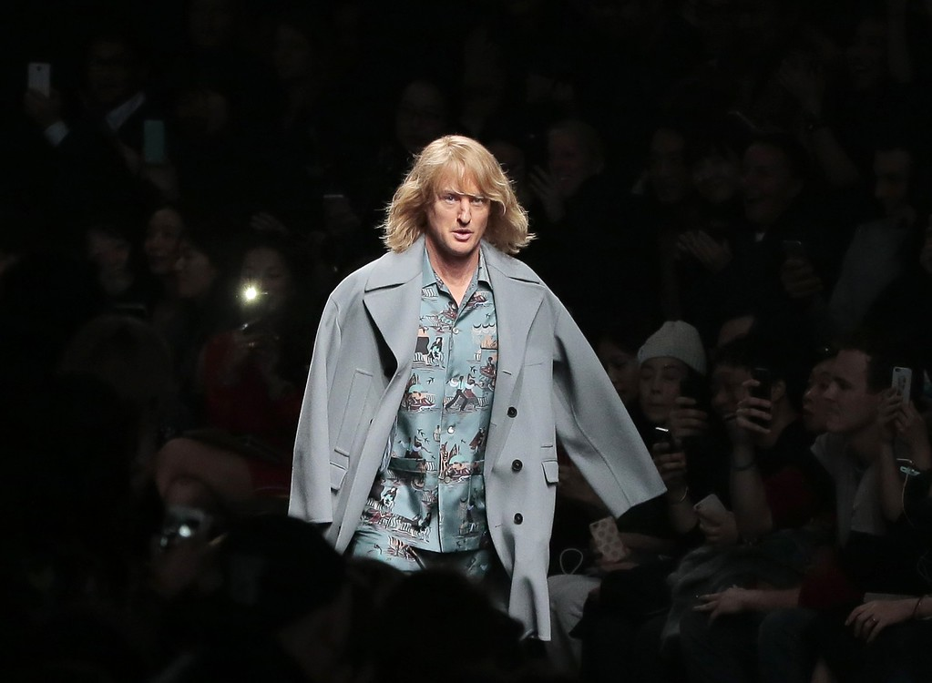 . Actor\'s Owen Wilson wears a creation for Valentino\'s ready-to-wear fall-winter 2015-2016 fashion collection presented during the Paris fashion week, in Paris, France, Tuesday, March 10, 2015.(AP Photo/Jacques Brinon)