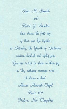 Saunders Wedding Sept 15, 1984