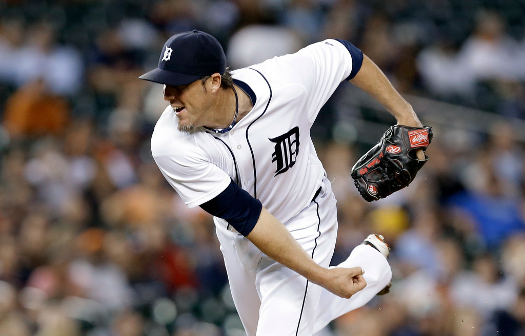 . Detroit Tigers relief pitcher Joe Nathan throws against the New York Yankees in the ninth inning of a baseball game in Detroit Tuesday, Aug. 26, 2014. Detroit won 5-2. (AP Photo/Paul Sancya)