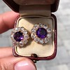 7.30ctw Victorian Amethyst and Old Mine Cut Diamond Cluster Earrings 3