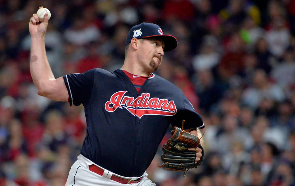 . Cleveland Indians relief pitcher Bryan Shaw delivers during the eighth inning of Game 5 against the New York Yankees in a baseball American League Division Series, Wednesday, Oct. 11, 2017, in Cleveland. (AP Photo/Phil Long)