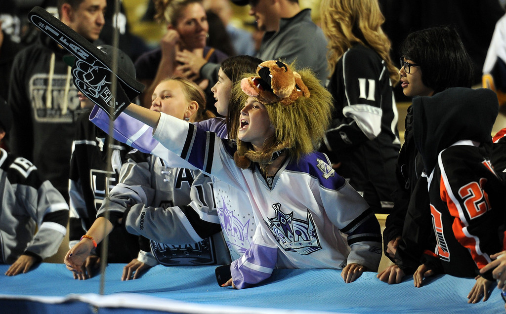 . Los Angeles Kings fans cheer prior to the start of the inaugural NHL Stadium Series game against the Anaheim Ducks at Dodger Stadium in Los Angeles on Saturday, Jan. 25, 2014. (Keith Birmingham Pasadena Star-News)
