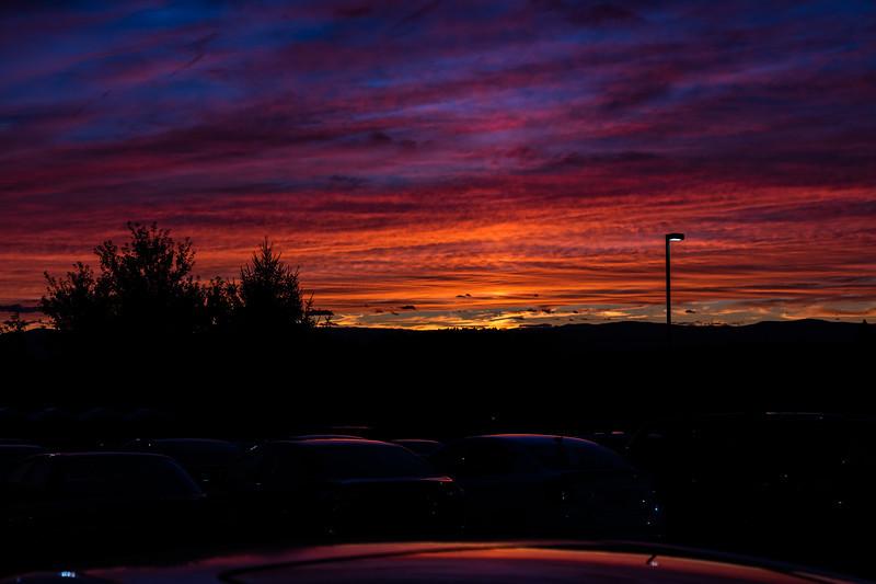 Turf Parking Lot at Sunset