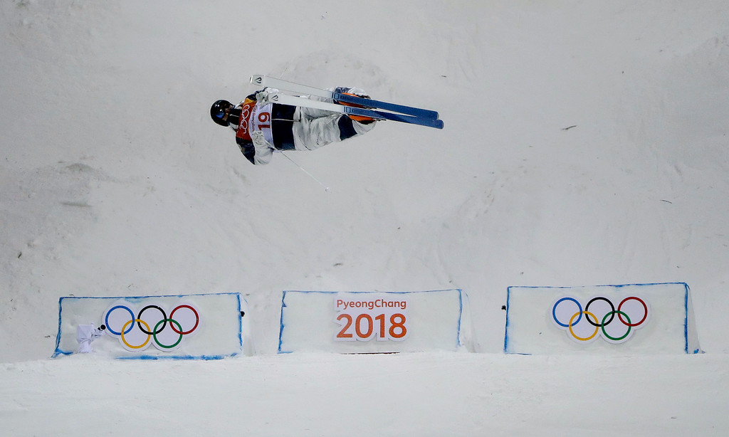 . Casey Andringa, of the United States, during the men\'s moguls qualifying at Phoenix Snow Park at the 2018 Winter Olympics in Pyeongchang, South Korea, Monday, Feb. 12, 2018. (AP Photo/Gregory Bull)