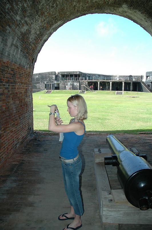 Kate taking pictures at Fort Morgan.