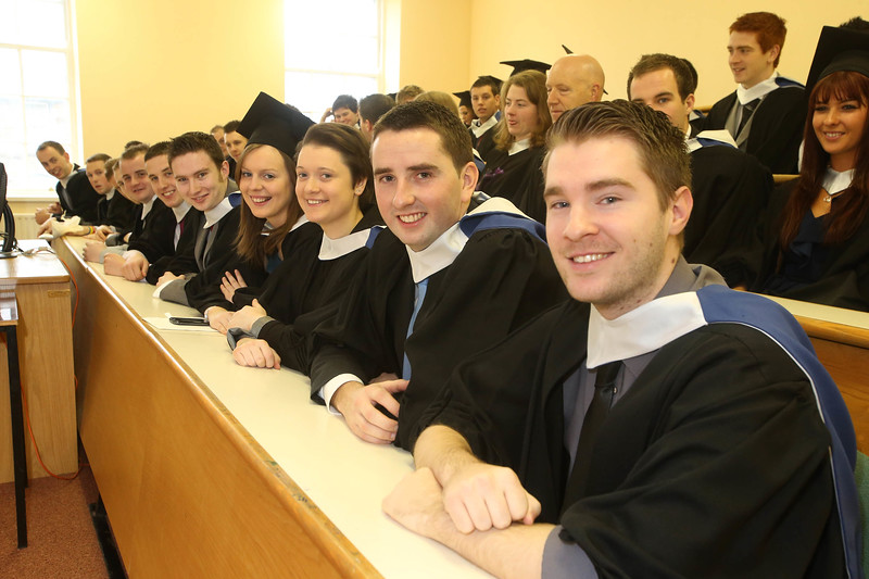 Pictured are those who graduated Bachelor of Business Recretion and Sports Management include from Right to Left, James Baker, Wexford, Brian Barry, Cork, Claire Bryan, Kildare, Ashling Butler, Tipperary and Kieran Casey, Wexford . Picture: Patrick Browne