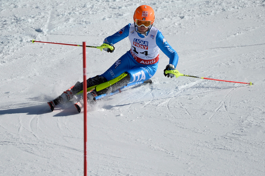 . BEAVER CREEK, CO - FEBRUARY 14: Chiara Costazza of Italy competes during the ladies\' slalom. FIS Alpine World Ski Championships 2015 on Saturday, February 14, 2015. (Photo by AAron Ontiveroz/The Denver Post)