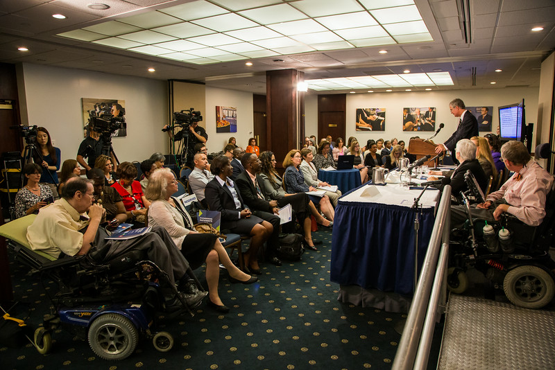 Crowd photo of the National Disability Institute press conference event at the National Press Club.  Event photography by Jason Dixson Photography.