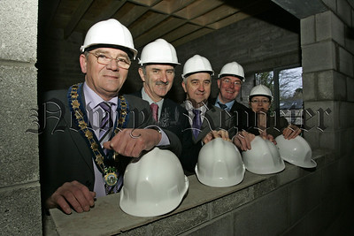 Altnaveigh House redevelopment project is underway. Mayor Michael Carr, Dennis Rooney, Martin McDonald, David Hanna and Pauline Morgan pictured at Altnaveigh House. 07W4N1