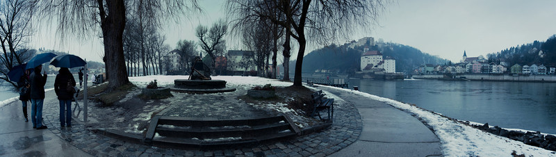 Am Drei-Flüsse-Zusammenfluss in Passau