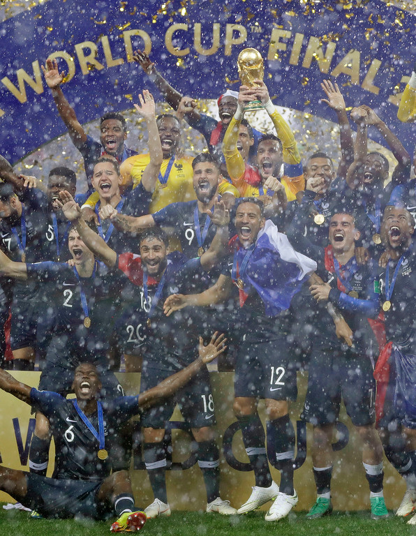 . The French team celebrate after the final match between France and Croatia at the 2018 soccer World Cup in the Luzhniki Stadium in Moscow, Russia, Sunday, July 15, 2018. France won the final 4-2. (AP Photo/Matthias Schrader)