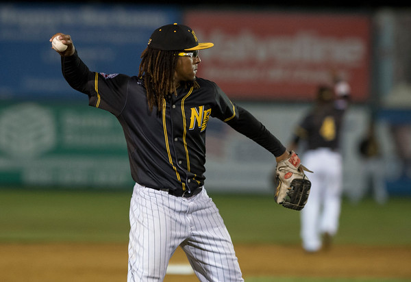 09/06/19 Wesley Bunnell   StaffrrThe New Britain Bees vs the Lancaster Barnstormers on Friday night at New Britain Stadium. Ozzie Martinez (1) complies the around the horn after a Barnstormer strike out.