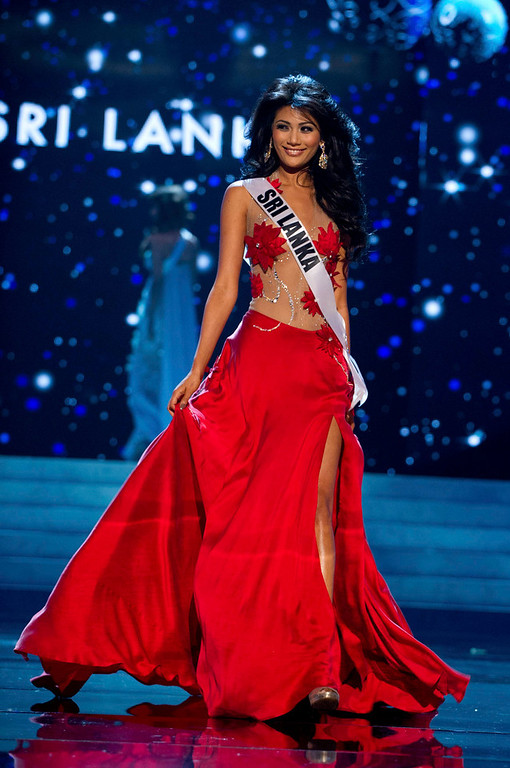 . Miss Sri Lanka 2012 Sabrina Herft competes in an evening gown of her choice during the Evening Gown Competition of the 2012 Miss Universe Presentation Show in Las Vegas, Nevada, December 13, 2012. The Miss Universe 2012 pageant will be held on December 19 at the Planet Hollywood Resort and Casino in Las Vegas. REUTERS/Darren Decker/Miss Universe Organization L.P/Handout