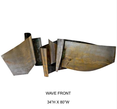"""WaveFornt-Hollack, 34""""hx80""""w paintinbg on metal"""
