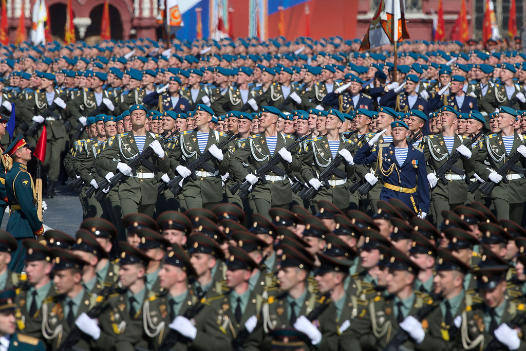 . Russian soldiers march along Red Square during a Victory Day parade Thursday, May 9, 2013. President Vladimir Putin\'s short speech Thursday came at the culmination of Victory Day, marking the defeat of Nazi Germany 68 years ago. It is Russia\'s most important secular holiday, honoring the huge military and civilian losses of World War II and showing off the country\'s modern arsenal. (AP Photo/ Ivan Sekretarev)