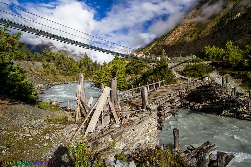 Bridges over the Marshyangdi River in Nepal