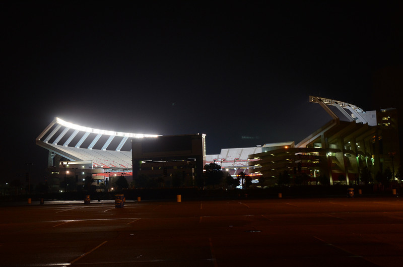 9/7 the empty stadium all lit up.