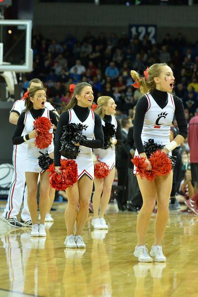 March 20, 2014: Cincinnati Bearcats cheerleaders perform during a second round game of the NCAA Division I Men's Basketball Championship between the 5-seed Cincinnati Bearcats and the 12-seed Harvard Crimson at Spokane Arena in Spokane, Wash. Harvard defeated Cincinnati 61-57.