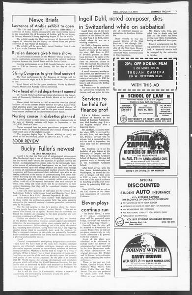 Summer Trojan, Vol. 62, No. 12, August 12, 1970