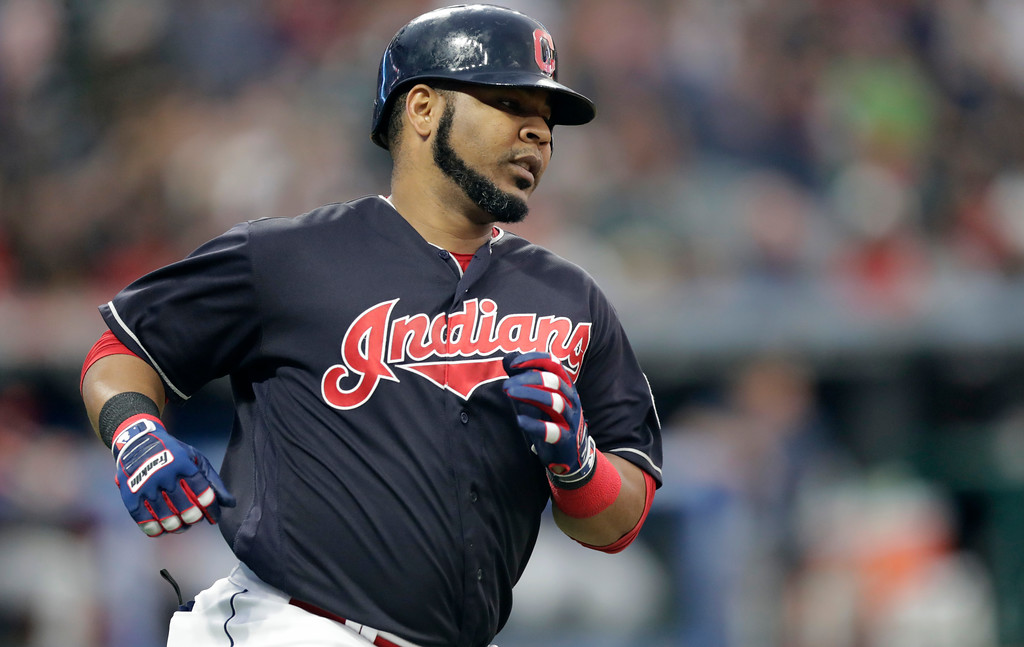 . Cleveland Indians\' Edwin Encarnacion runs the bases after hitting a solo home run in the fourth inning of a baseball game against the Pittsburgh Pirates, Tuesday, July 24, 2018, in Cleveland. (AP Photo/Tony Dejak)