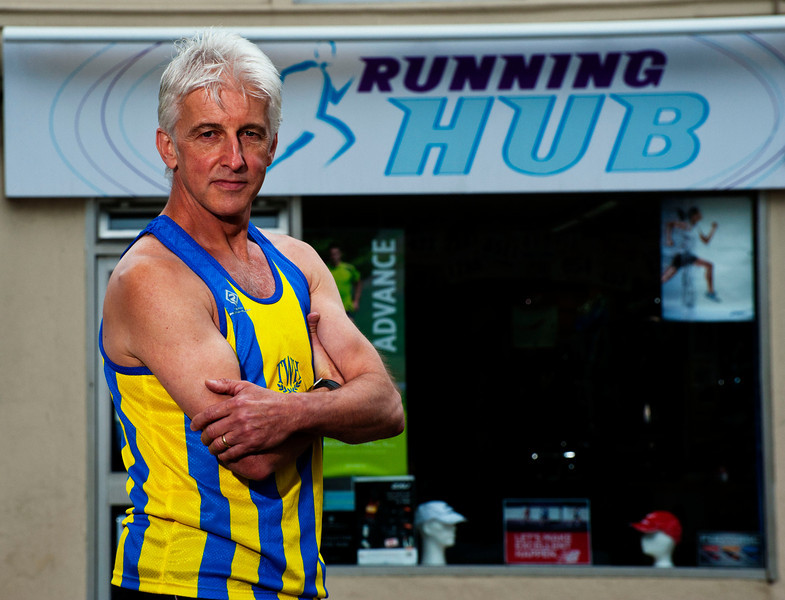 Long distance runner Alan Cheek who owns a running shop in Tunbridge Wells. Business is booming for him as people move away from expensive gym memberships.